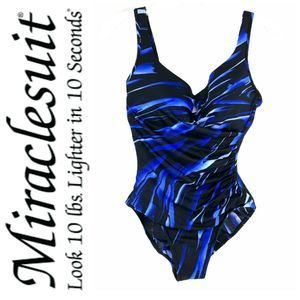 Miraclesuit Sz 10 Swimsuit Blue Gandolf Ruched
